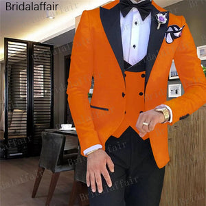 Men Colorful Suits Jacket Pants Vest 3Pcs - Jeybeauty
