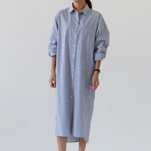 Hem Stripe Turn Down Collar Dress - Jeybeauty