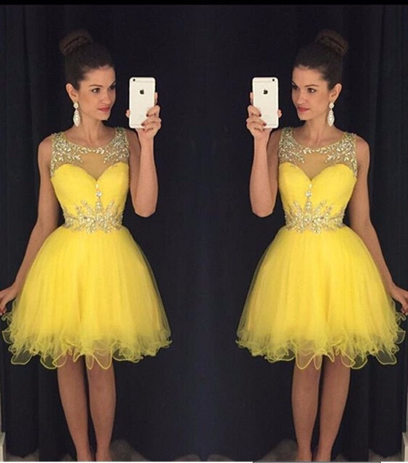 Beading Sheer Yellow Gown - Jeybeauty