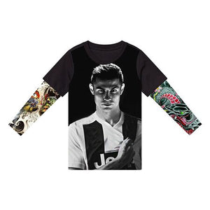 Boys 3d tattoo print  creative t-shirt - Jeybeauty
