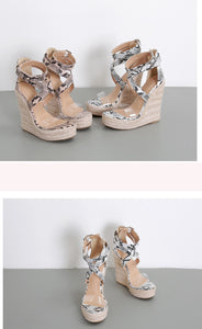 Serpentine Gladiator Open Toes High heels Wedges - Jeybeauty