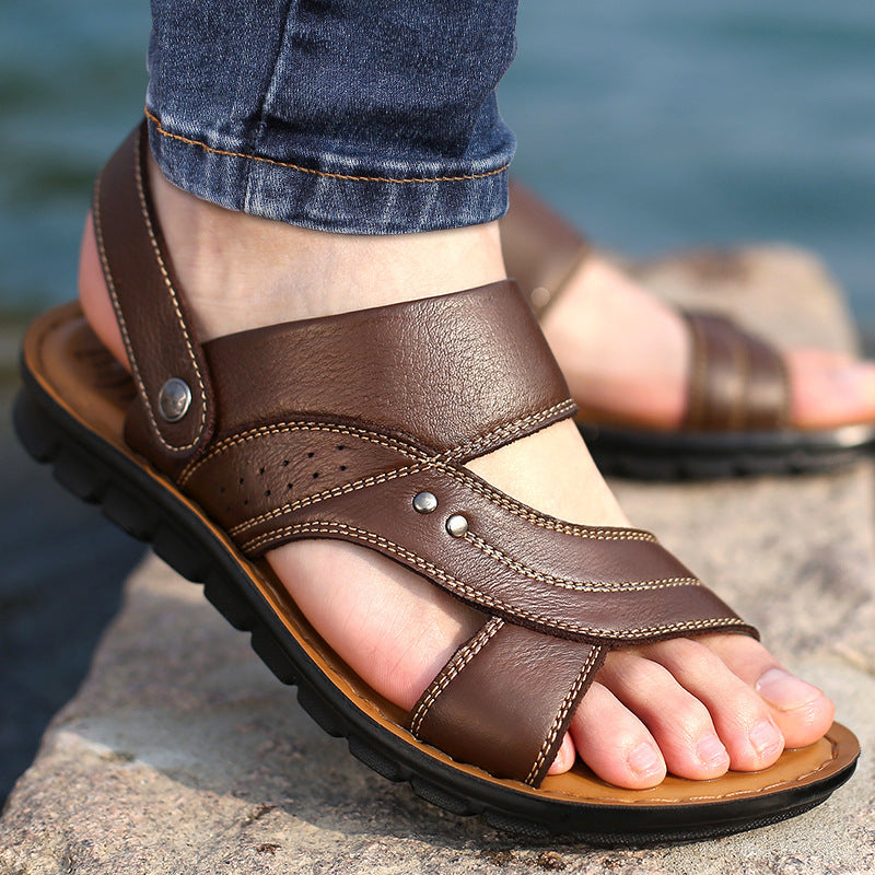 Mens Genuine Leather Sandals - Jeybeauty
