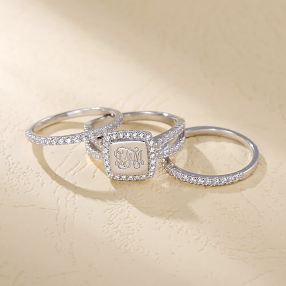 Logo Engraved Stacking Ring - Jeybeauty