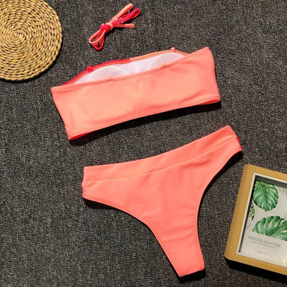 Sunset Strapless Bathing Suits - Jeybeauty