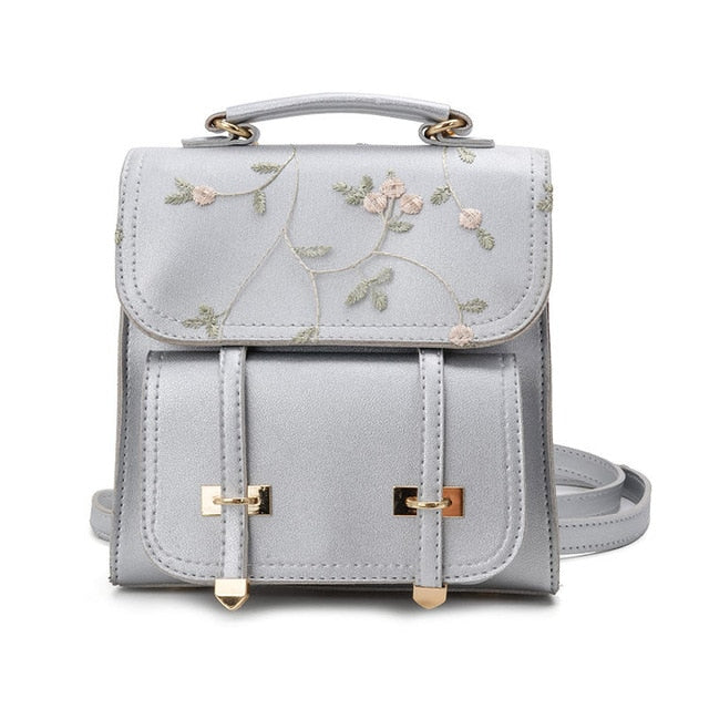 High Quality Leather Floral Embroidery Design Rucksack - Jeybeauty