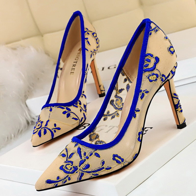 Embroidery High Heels Elegant Stiletto Shoe - Jeybeauty