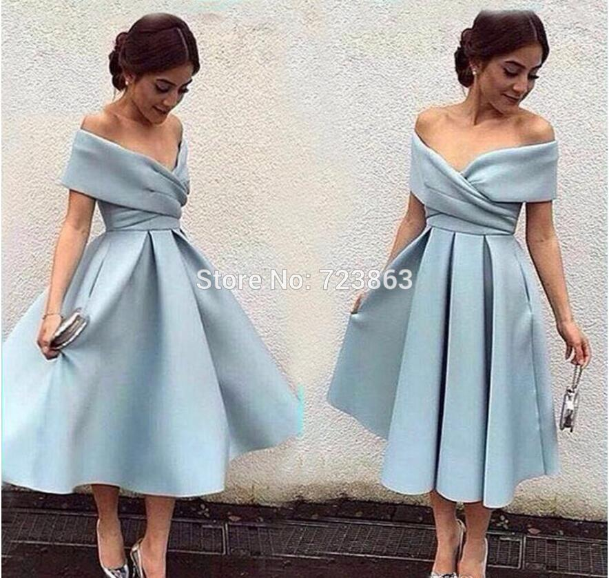 Tea Length Elegant Off Shoulder Pleat Blue Gown - Jeybeauty