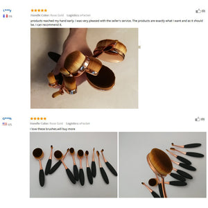 Rose Gold Oval Makeup Brushes set - Jeybeauty