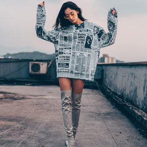 Newspaper Printing Long-sleeved T-shirt - Jeybeauty