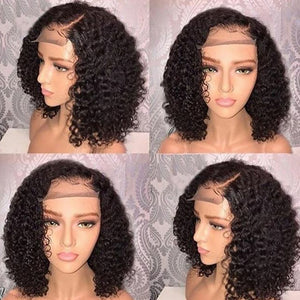 Natural Curly  Lace Front Human Hair bob Wig - Jeybeauty