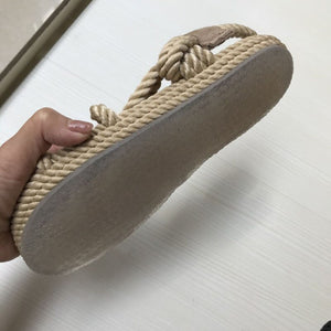 New cane hemp flat sandals - Jeybeauty