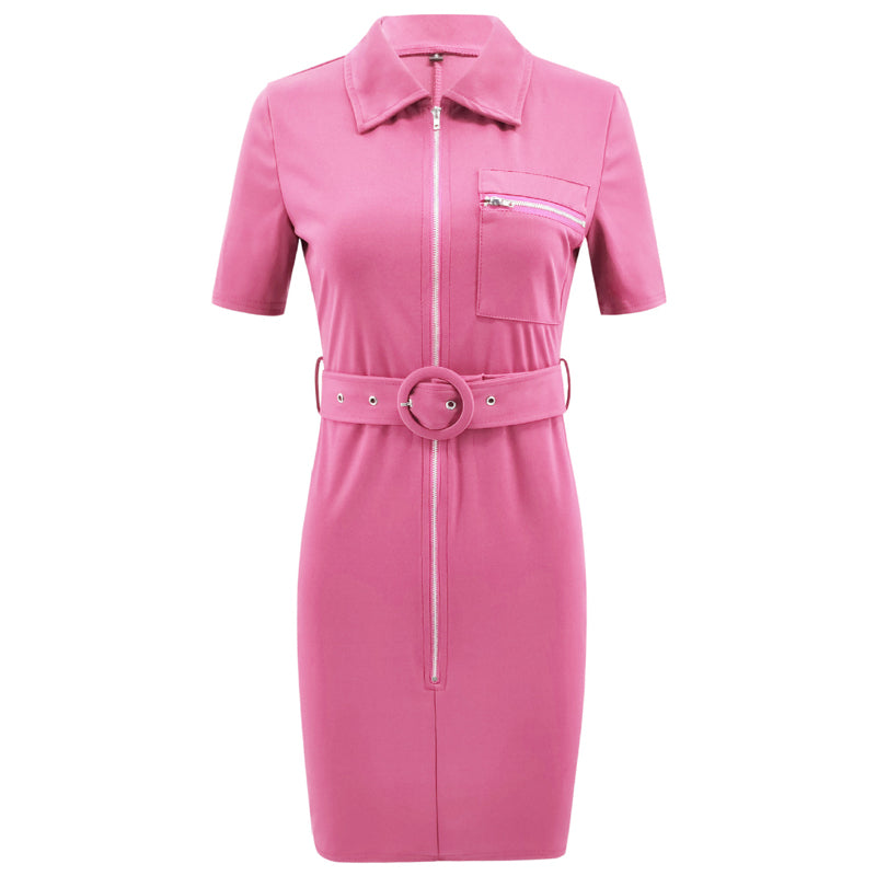 Belted Pencil Front Zipper Sheath Bodycon Dress - Jeybeauty