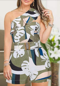 Detail Abstract Print Romper - Jeybeauty