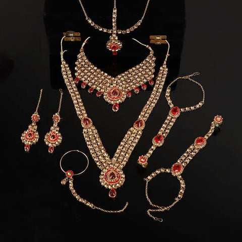 Steorra jewels Red Golden Bridal Set for Women - Steorra Jewels