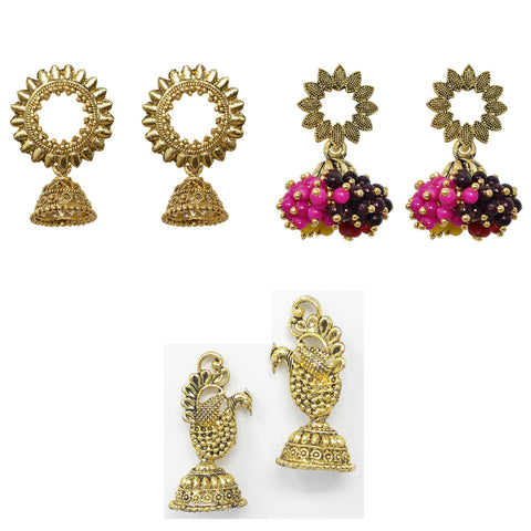 Steorra jewels Partywear Bollywood Style Hanging Jhumki earring combo set of 3 - Steorra Jewels