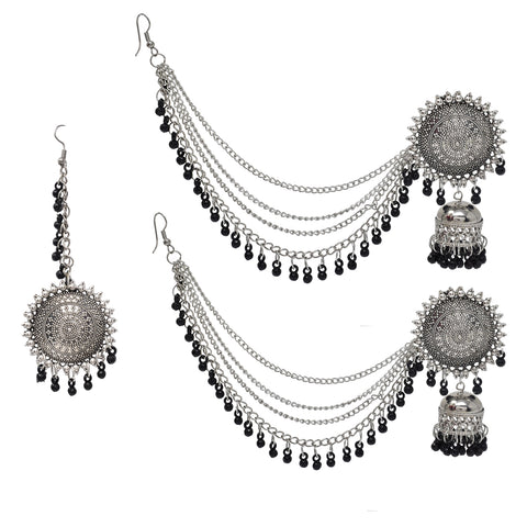 Silver Oxidised Afghani Chandbali Dangler Earring for Women and Girls - Steorra Jewels