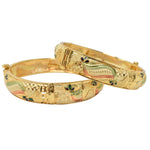 Steorra Jewels Screw Openable Two Traditional Indian Wedding Style 2.4 Size Bangles Set For Women And Girls - Steorra Jewels