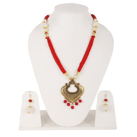 Steorra Jewels Red Golden Long Jewellery Set for Women