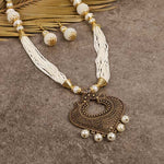 Steorra Jewels White Golden Long Jewellery Set for Women - Steorra Jewels