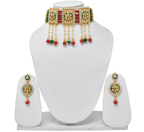 Traditional Bollywood style red Green Beads Kundan Choker Necklace Set For Women And girls