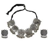 Silver Oxidized Traditional Lotus Style Choker Necklace With Matching Earring