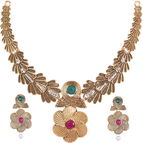 Steorra Jewels Traditional Golden Oxidized Bollywood Style Necklace Set