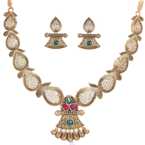Steorra Jewels Indian Ethnic Golden Oxidized Latest Design Necklace set for women and girls