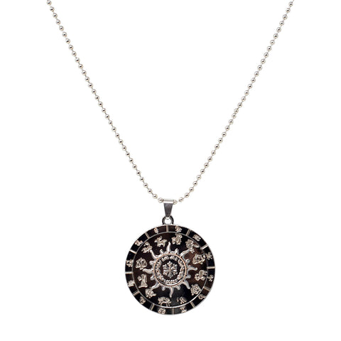 Steorra jewels Silver Round Pendant Necklace Men Jewelry - Steorra Jewels