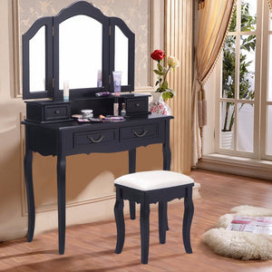 Folding Mirror Black Wood Vanity Set Makeup Table Dresser 4 Drawers + Stool
