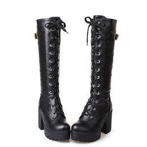 Hot Sale Spring Autumn Lacing Knee High Boots Women Fashion