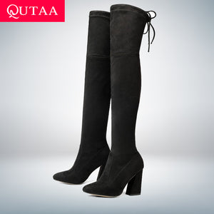 New Flock Leather Women Over The Knee Boots
