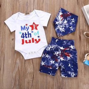baby Boy Girls Clothes 4th Of July Letter Star Print