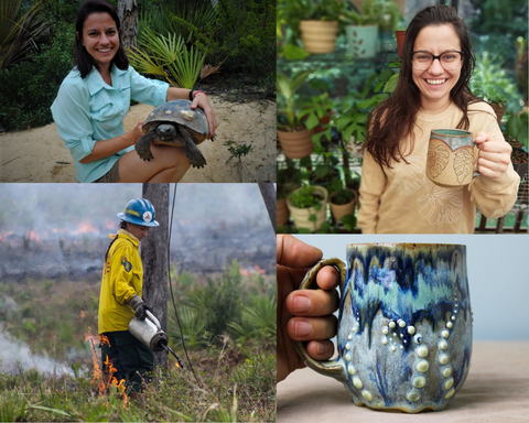 Composite image: 1. Young woman holding a tortoise in a sandy area. 2. Woman holding a ceramic mug with monstera design in front of shelves of tropical plants. 3. Woman holding a drip torch outside in scrub habitat 3. Ceramic tentacle mug, glazed in blue.