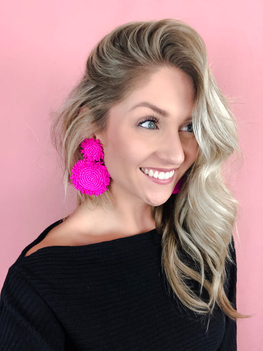 Blair Pink Statement Earrings