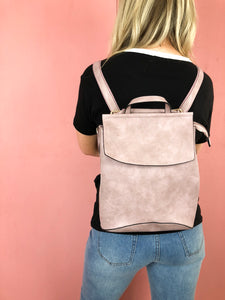 Aspen Vegan Leather Backpack - Mauve