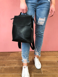Aspen Vegan Leather Backpack - Black