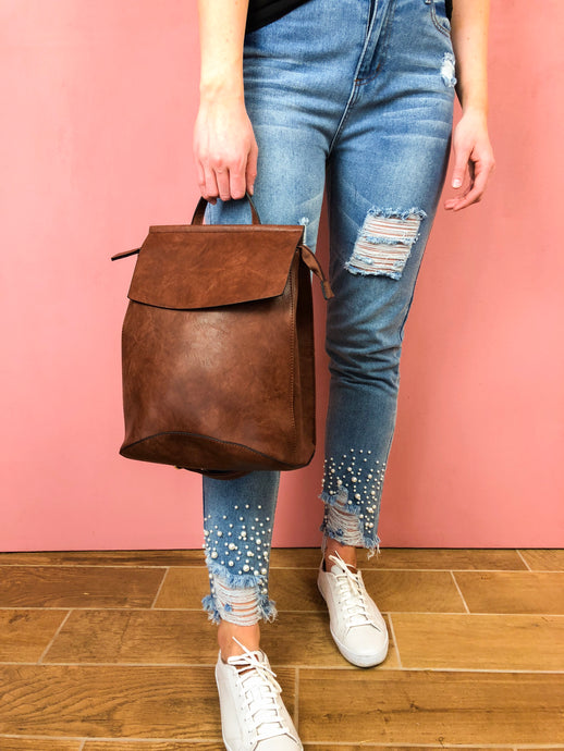 Aspen Vegan Leather Backpack - Coffee