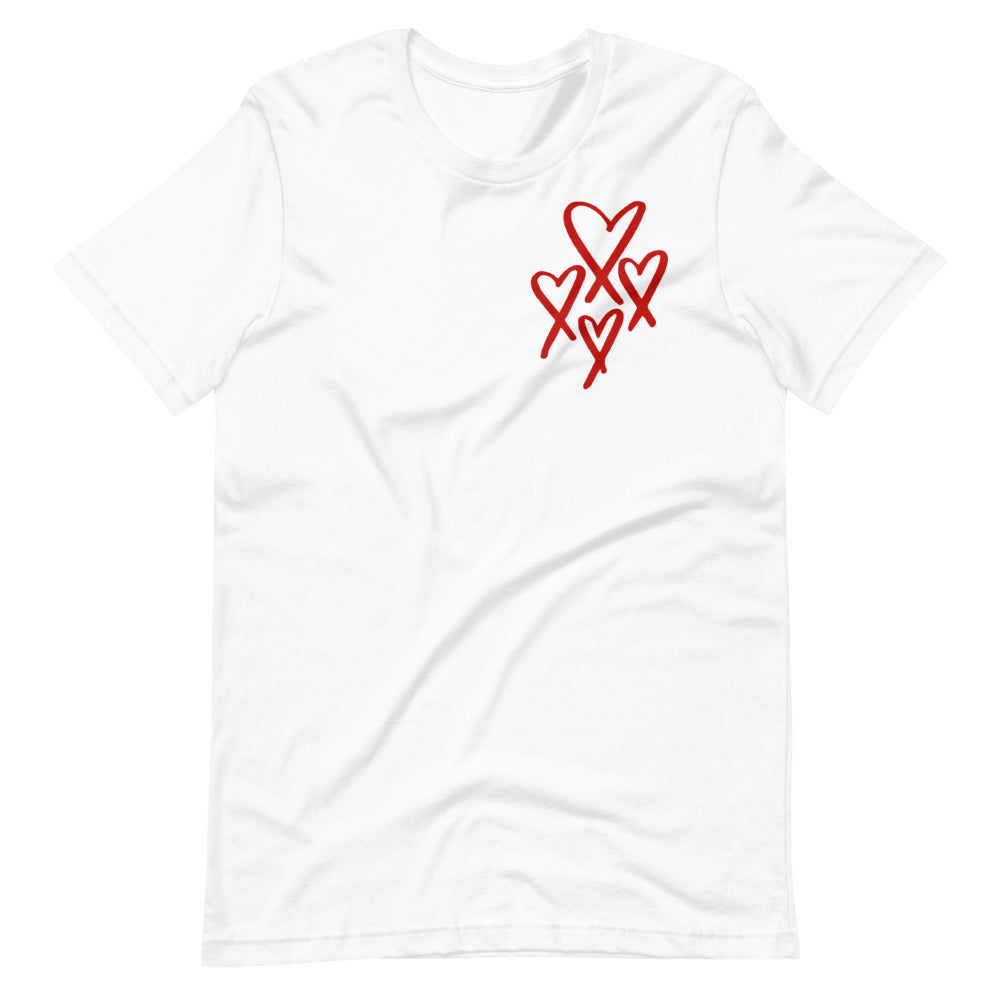 NEW YORK ROMANTIC Short-Sleeve Unisex T-Shirt (4 Red Hearts)
