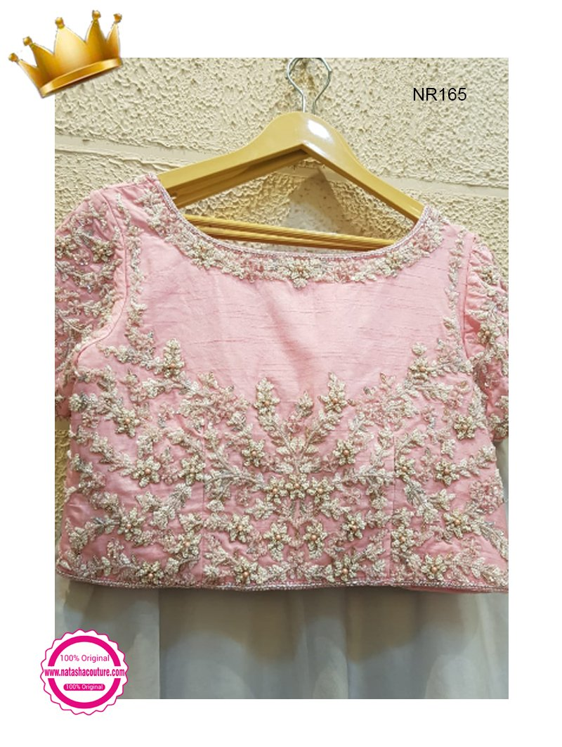 Pink & Grey Pure Organza Handwork Exclusive Designer Lehenga Choli NR165