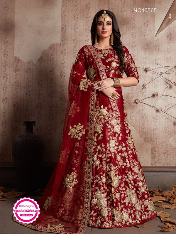 Maroon Velvet Silk Wedding Lehenga Choli NC10565