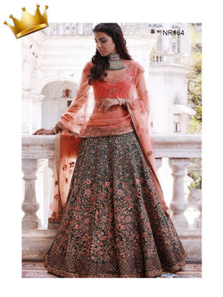 Peach & Green Pure Silk Handwork Exclusive Designer Bridal Lehenga Choli NR164