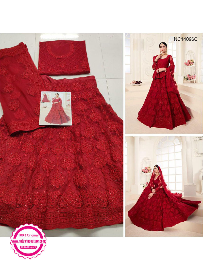 Red Net Embroidered Lehenga Choli NC14096C