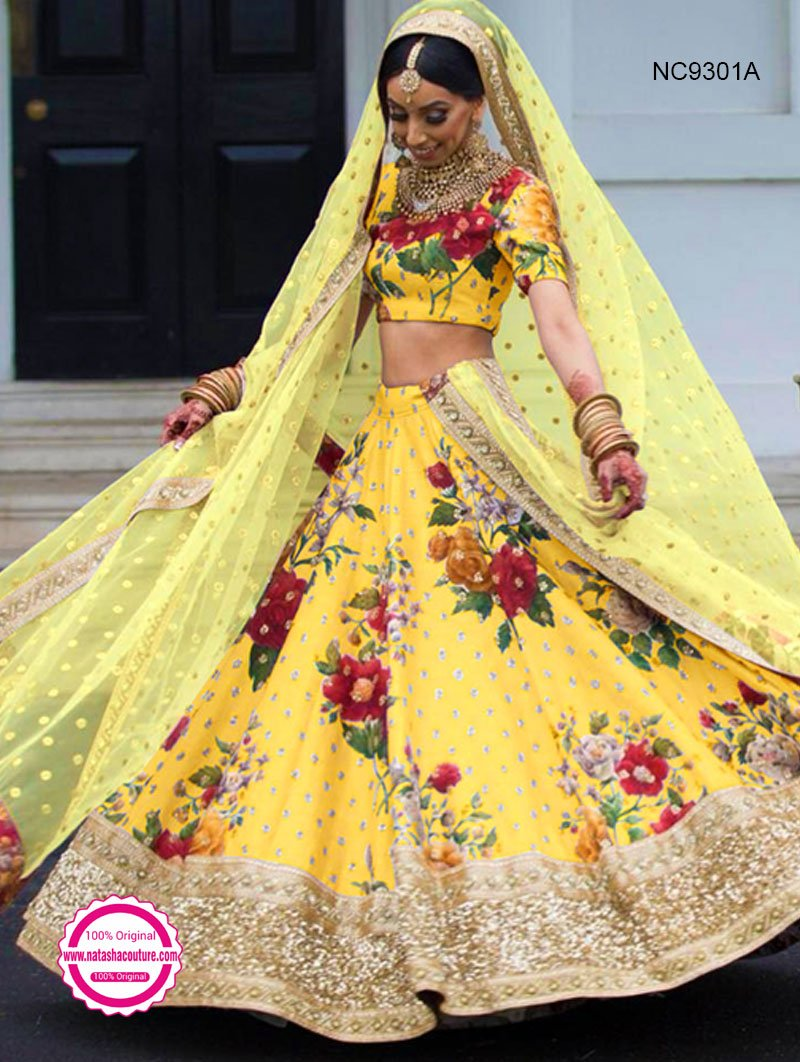Yellow Silk Floral Bollywood Lehenga Choli NC9301A