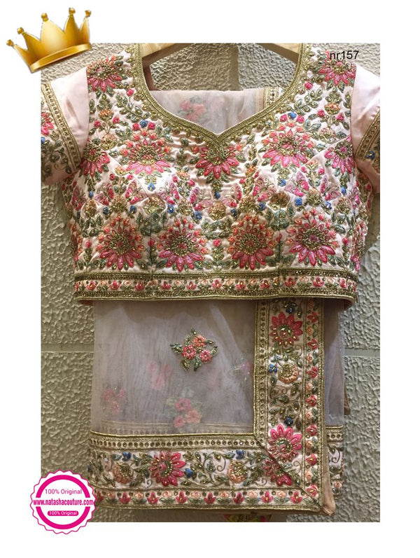 Anushka Sharma Peach Pink Pure Raw Silk Exclusive Designer Lehenga NR157