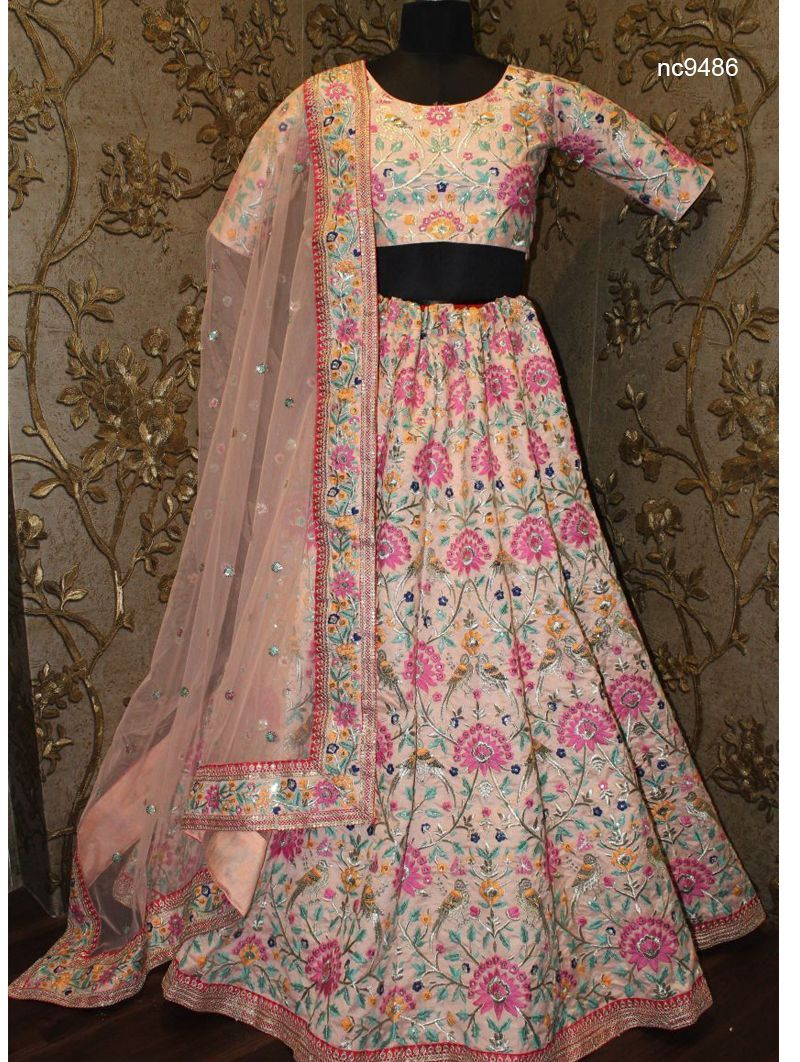 Anushka Sharma Peach Silk Bridal Bollywood Lehenga Choli NC9486