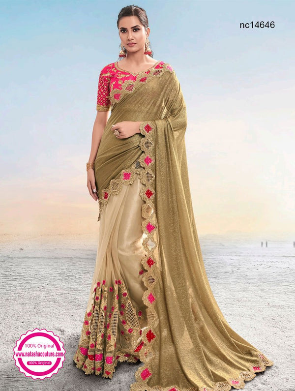 Beige & Cream Crush & Net Half & Half Saree NC14646