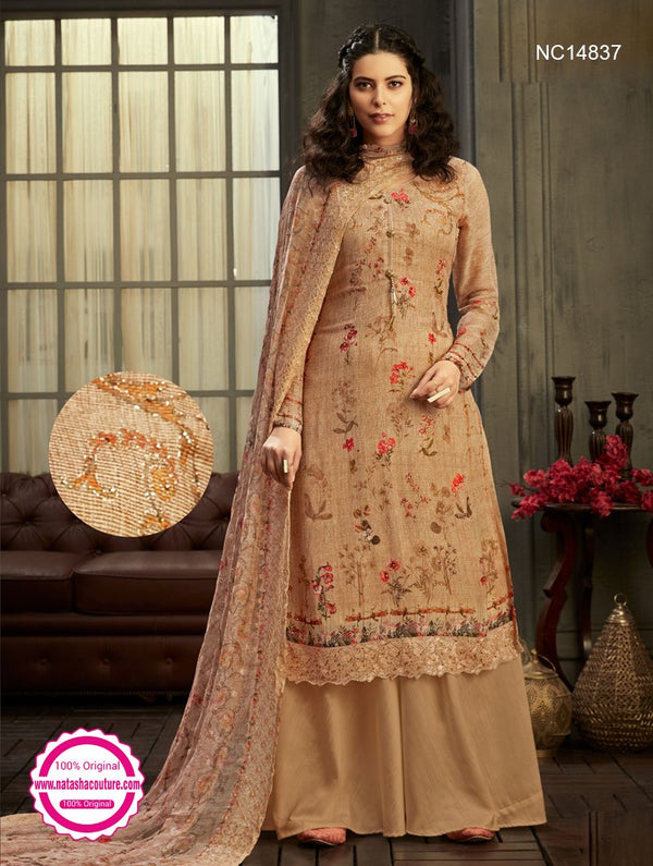 Beige Georgette Palazzo Suit NC14837