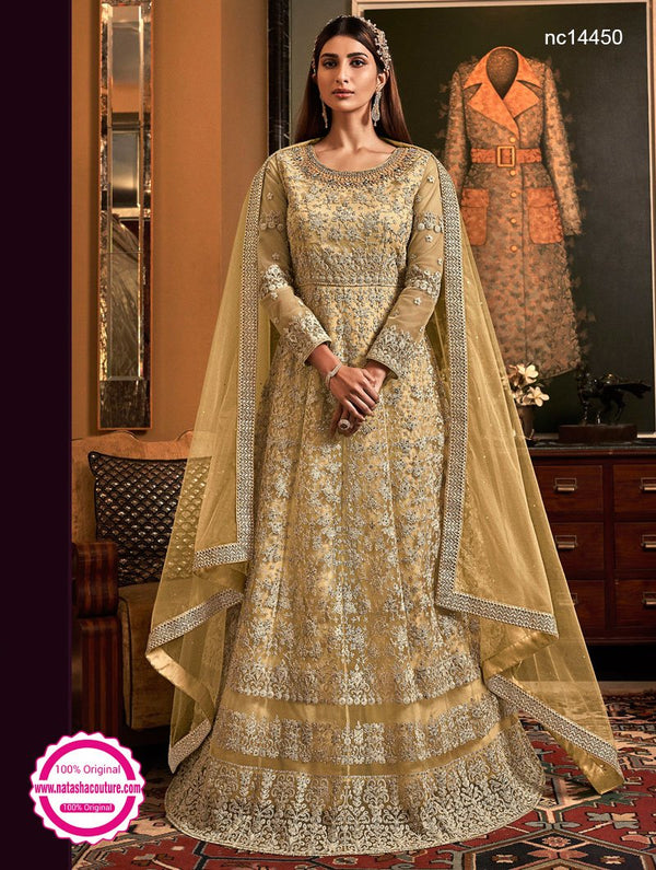 Beige Net Anarkali Suit NC14450