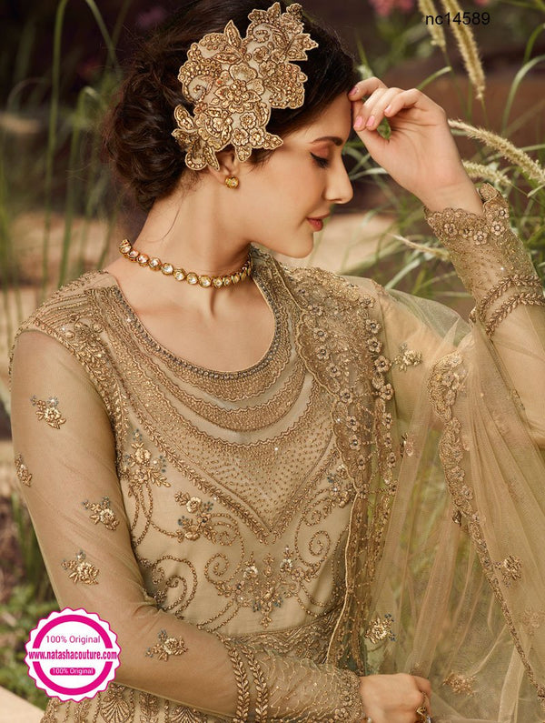 Beige Net Anarkali Suit NC14589