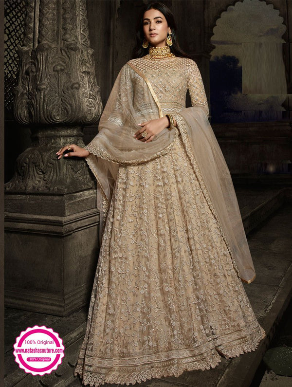 Beige Net Anarkali Suit NC15129